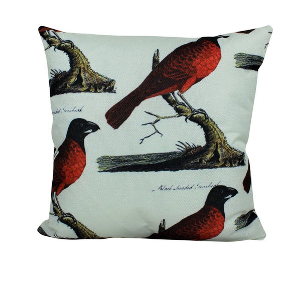Red Bird Pillow Cover | Farmhouse Decor | Home Decor | 18 x 18 | Bird Lover