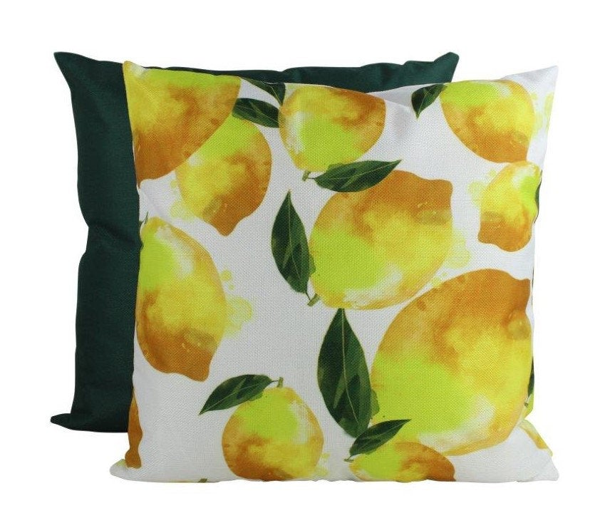 Lemon Pattern | 18x18 Pillow Cover | Yellow Lemons | Fruit Pillow Covers | Summer Design