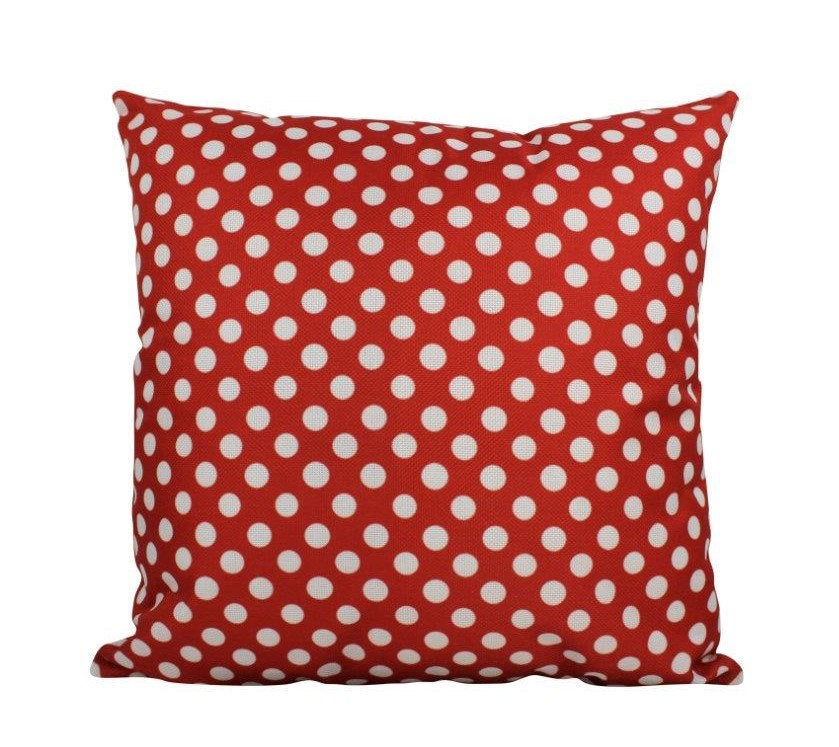 Red and white Polka Dots | 18x18 Pillow Cover | Solid Accent Pillows | Polka Dot Pillow