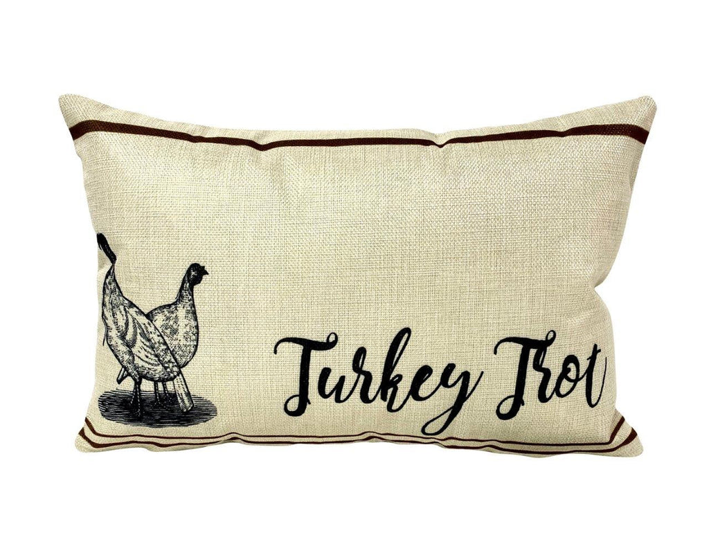 Turkey Trot  | Pillow Cover | 18 x 12 | Primitive Decor | Vintage Turkeys Farmhouse Decor | Farmhouse Decor | Throw Pillows | Cabin Decor