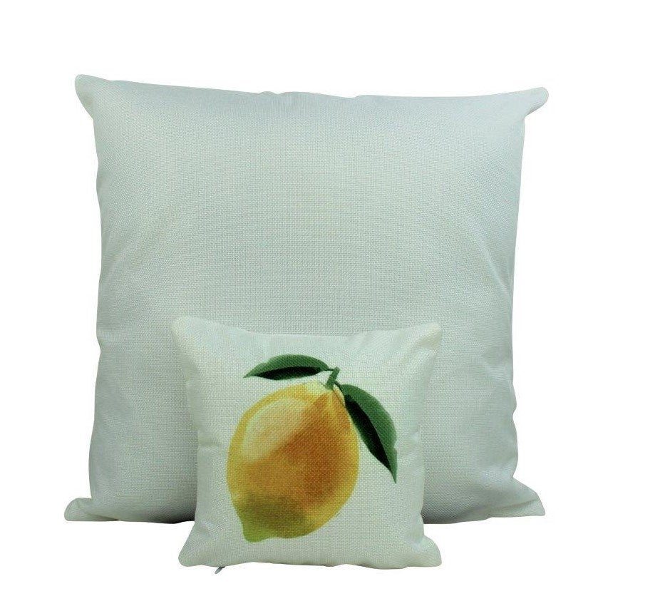 MINI: Lemon | 8 x 8 | Yellow Lemons | Fruit Pillow | Summer Design | Accent Pillow | Tiny House Decor | Lumbar Pillow