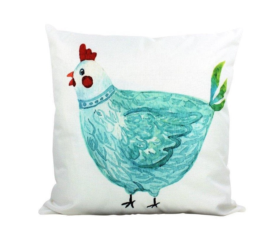Blue  Hen | Cover and Insert | Modern Farmhouse | Throw Pillow | Farm Decorating | 18 x 18