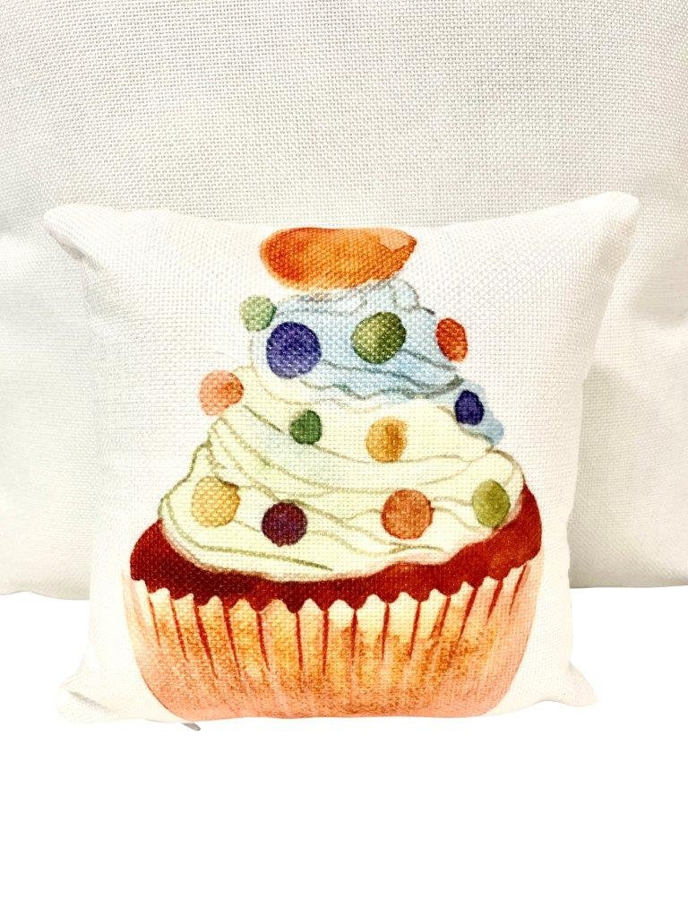 Mini Jelly Bean Sprinkle Cupcake | Sweet Cupcakes | Pillow 8 x 8 | Home Decor | Food Decor