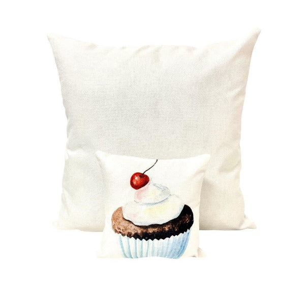 Mini Cherry and Cream Cupcake | Sweet Cupcakes | Pillow 8 x 8 | Home Decor | Food Decor