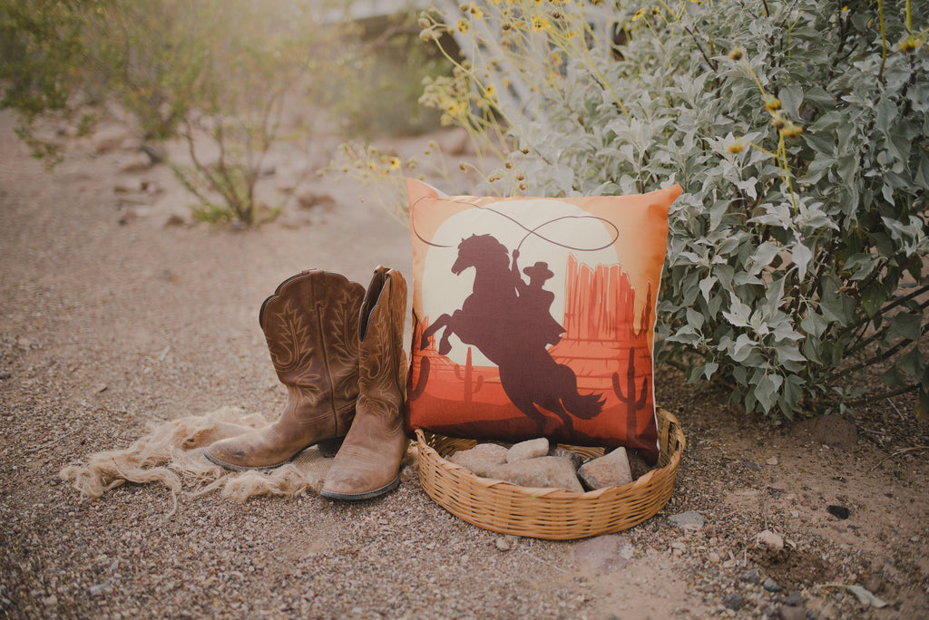Cowboy | Pillow Cover | Throw Pillow | Horse Lover Gift | Home Decor | Cactus Decor | Western | Cest Throw Pillows | Vintage Pillow Covers