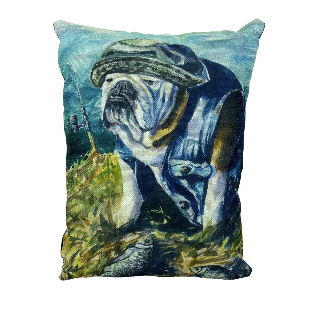 Fishing Bulldog Watercolor | Pillow Cover | Dog Lover | Home Decor | 12x16