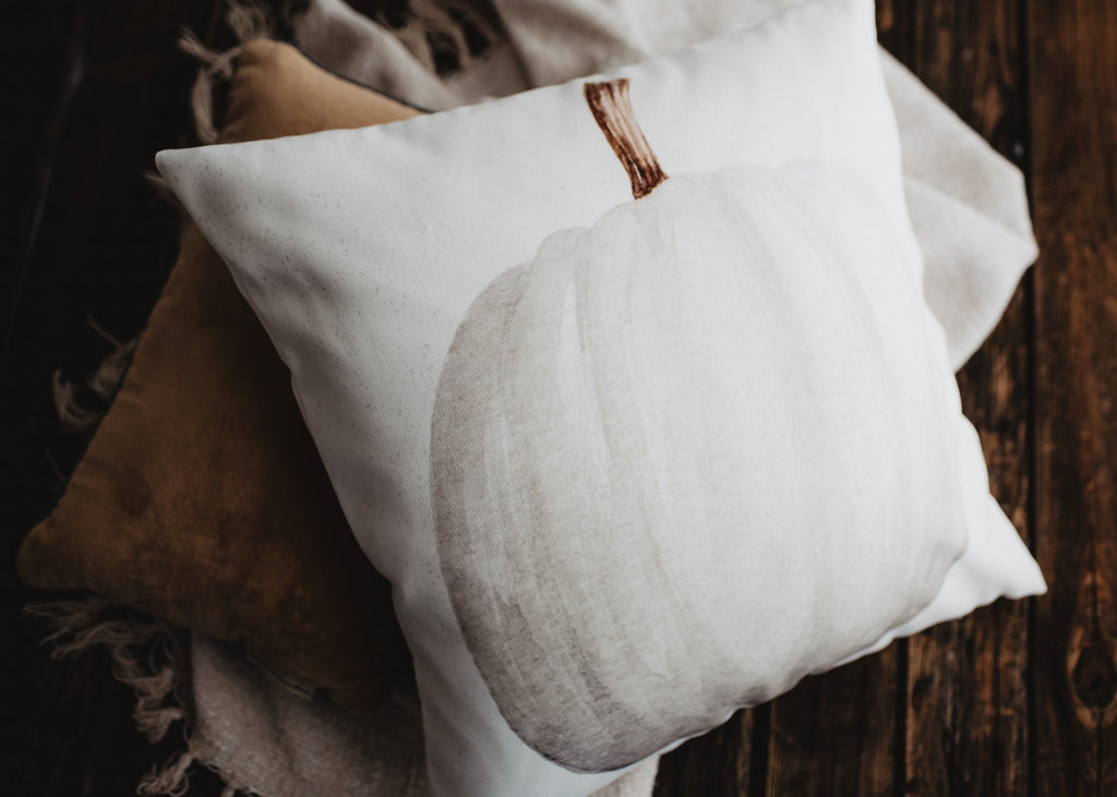 White Straight Stem Pumpkin Pillow Cover |   Primitive Farmhouse Decor | Farmhouse Pillows | Country Decor | Fall Throw Pillows | Gift