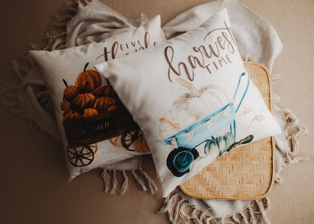 Give Thanks Pillow Cover |  Pumpkin Wagon Pillow | Farmhouse Pillows | Country Decor | Fall Throw Pillows | Cute Throw Pillow | Gift for her
