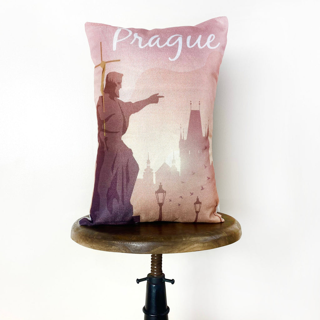 Prague Adventure Travel Throw Pillow Cover | 18x12