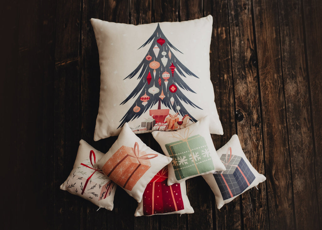 Nordic Christmas Tree Throw Pillow Cover | 18x18