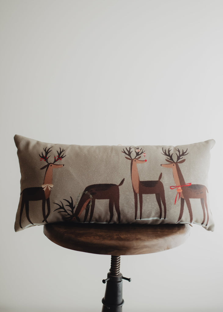 Decked out Christmas Reindeer Throw Pillow Cover | 20x10 | Primitive Christmas Decor | Primitive Decor | Luxury Home Decor | Luxury Decor