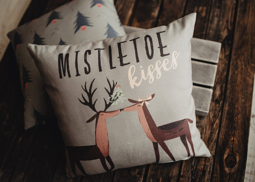 Mistletoe Kisses | Reindeer Throw Pillow Cover | Rustic Decor | Primitive Christmas Decor Rustic Christmas Decor Home Decor Christmas