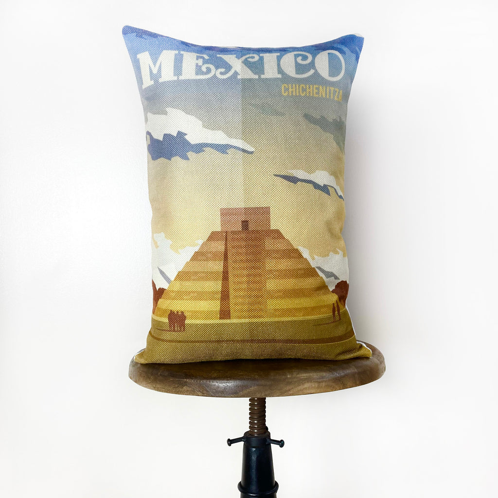 Mexico  Adventure Travel Throw Pillow Cover | 18x12