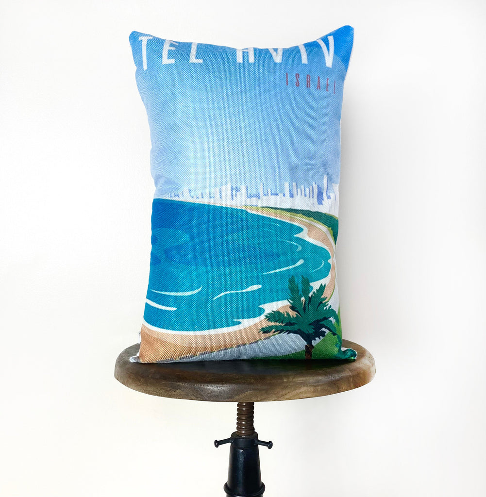 Tel Aviv | Adventure Time | Pillow Cover | Wanderlust | Throw Pillow | Travel Pillow | Isreal | Home Decor | 12x 8 Pillow | Adventure Awaits