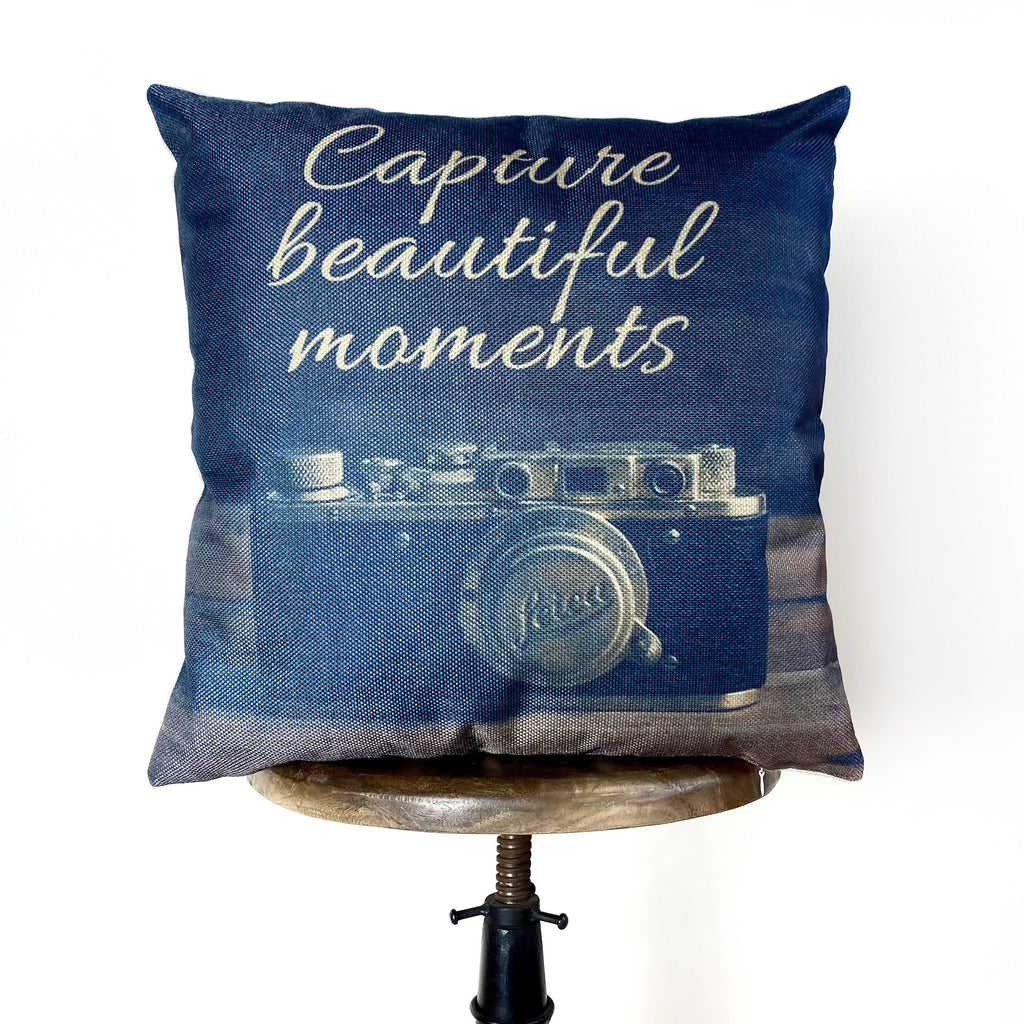 Capture Beautiful Moments | Pillow Cover | Photography | Vintage Camera Lens | Home Decor | Pillow