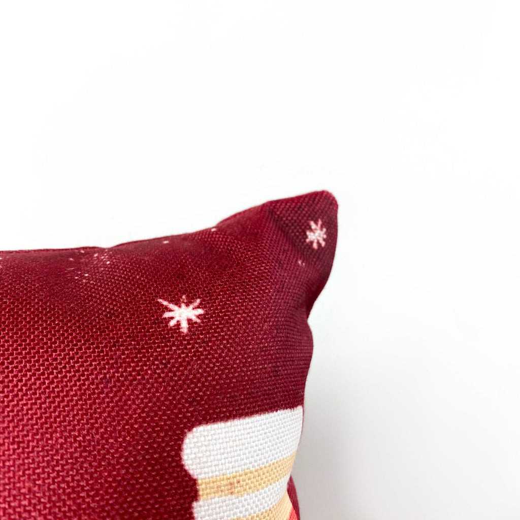 Nordic Christmas Stockings Throw Pillow Cover | 18x12