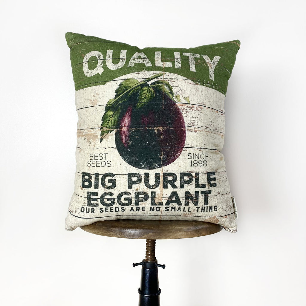 Eggplant Pillow Farm stand | Veggie Pillow | Modern Farmhouse | Throw Pillow | 16 x 18 | Eggplant