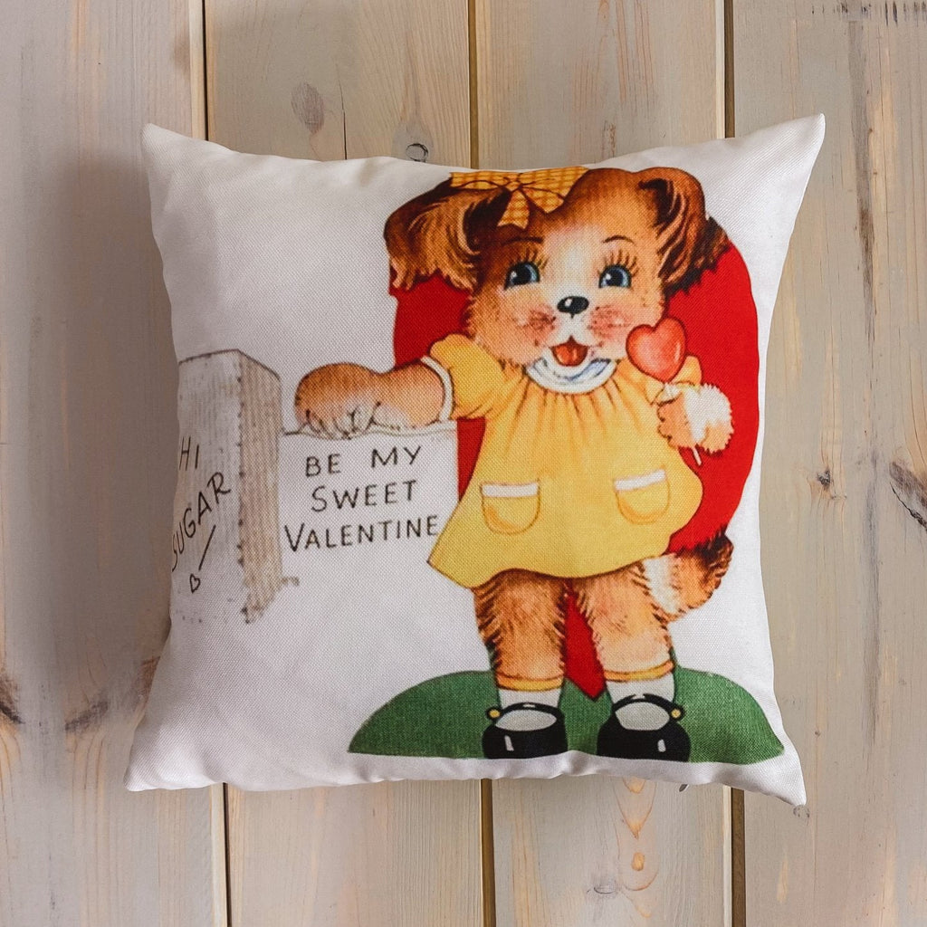 Hi Sugar Be my Vintage Valentines | 16x16 Pillow Cover | Valentine card motifs | Throw Pillow
