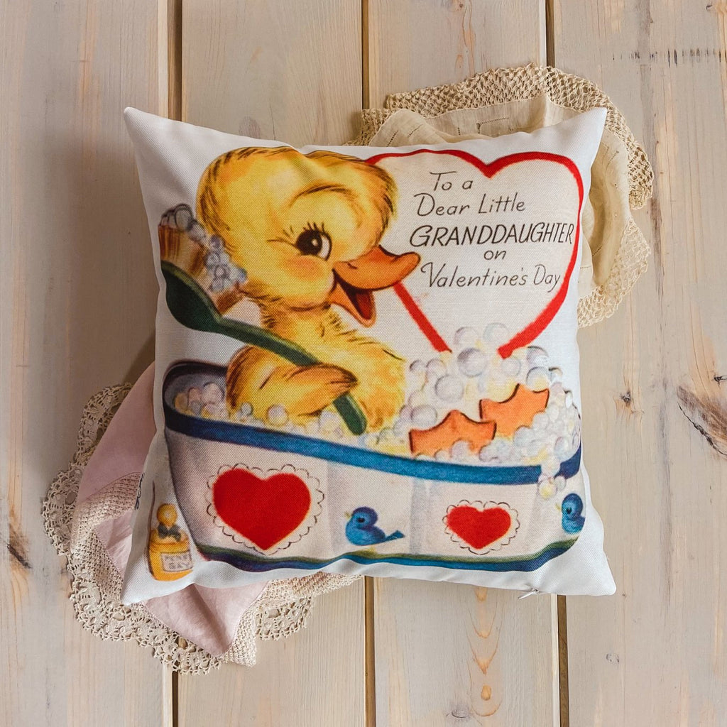 Dear Granddaughter on Valentines | 16x16 Pillow Cover | Valentine card motifs | Throw Pillow