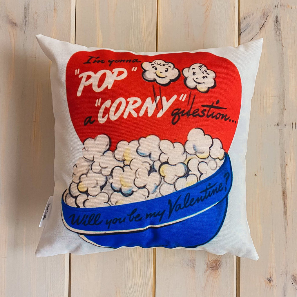 Pop a Corny Question Vintage Valentines | 16x16 Pillow Cover | Throw Pillow | Valentines Day Gifts for Her | Valentines Day | Room Decor