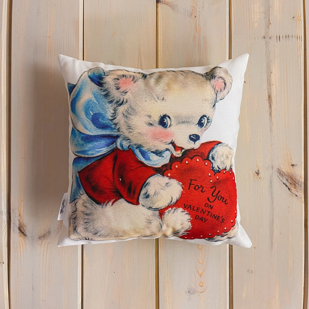 Red Heart Dog Vintage Valentines | 16x16 Pillow Cover | Throw Pillow | Valentines Day Gifts for Her | Valentines Day | Room Decor | Love You