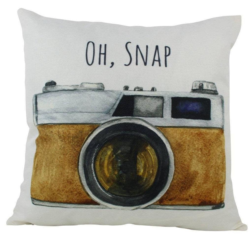Oh Snap Print | Photographer Gift | Pillow Cover | Photography | Vintage Camera Lens | Home Décor