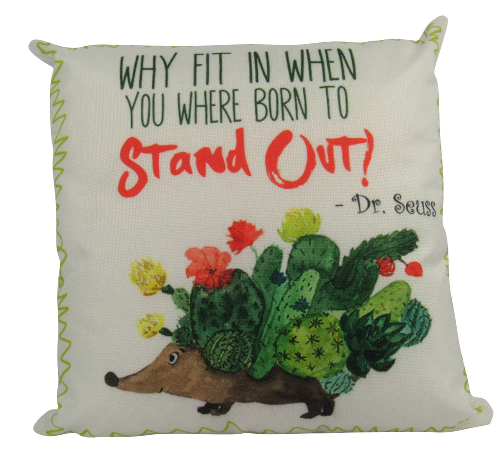 MINI: Why Fit In | Pillow Cover | Dr Seuss Quotes | Home Decor | 8 x 8 |  Dr Seuss Pillow |  Born to Stand Out Dr Seuss | Dr Seuss decor