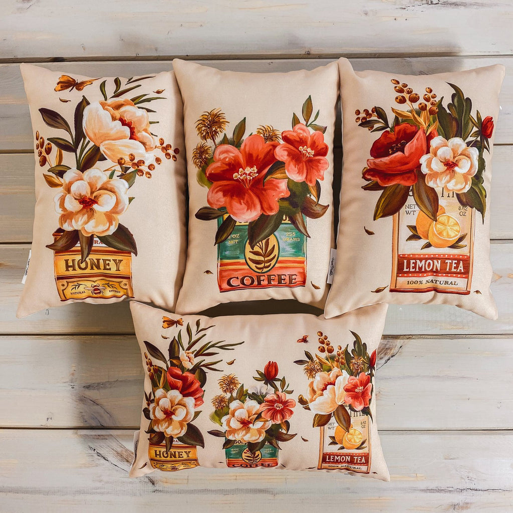 Coffee | Flower | Planters | Pillow Cover | 12x18 | Vintage | Floral arrangement | Throw Pillow | Throw Pillow Covers | Pillow | Gift