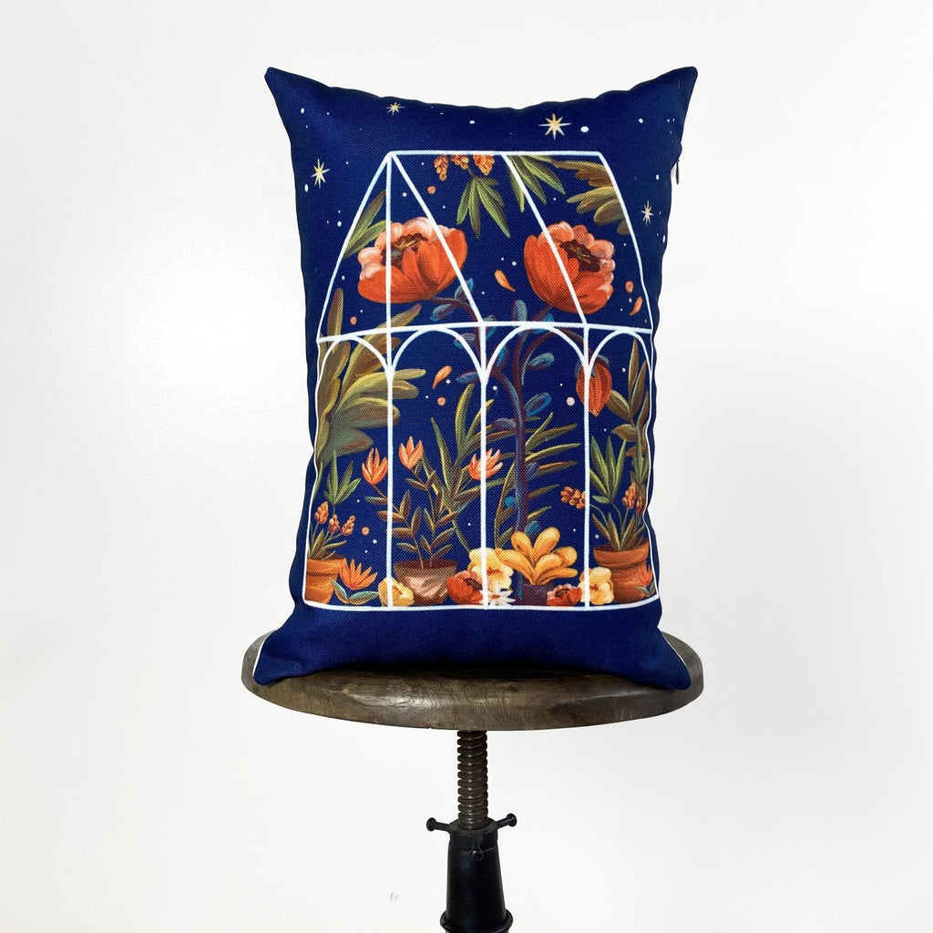 Blue Greenhouse | Pillow Cover | 12x18 | Greenhouse | Pillow | Throw Pillow | Vintage | Floral | Gift for her | Home Decor | Country Decor