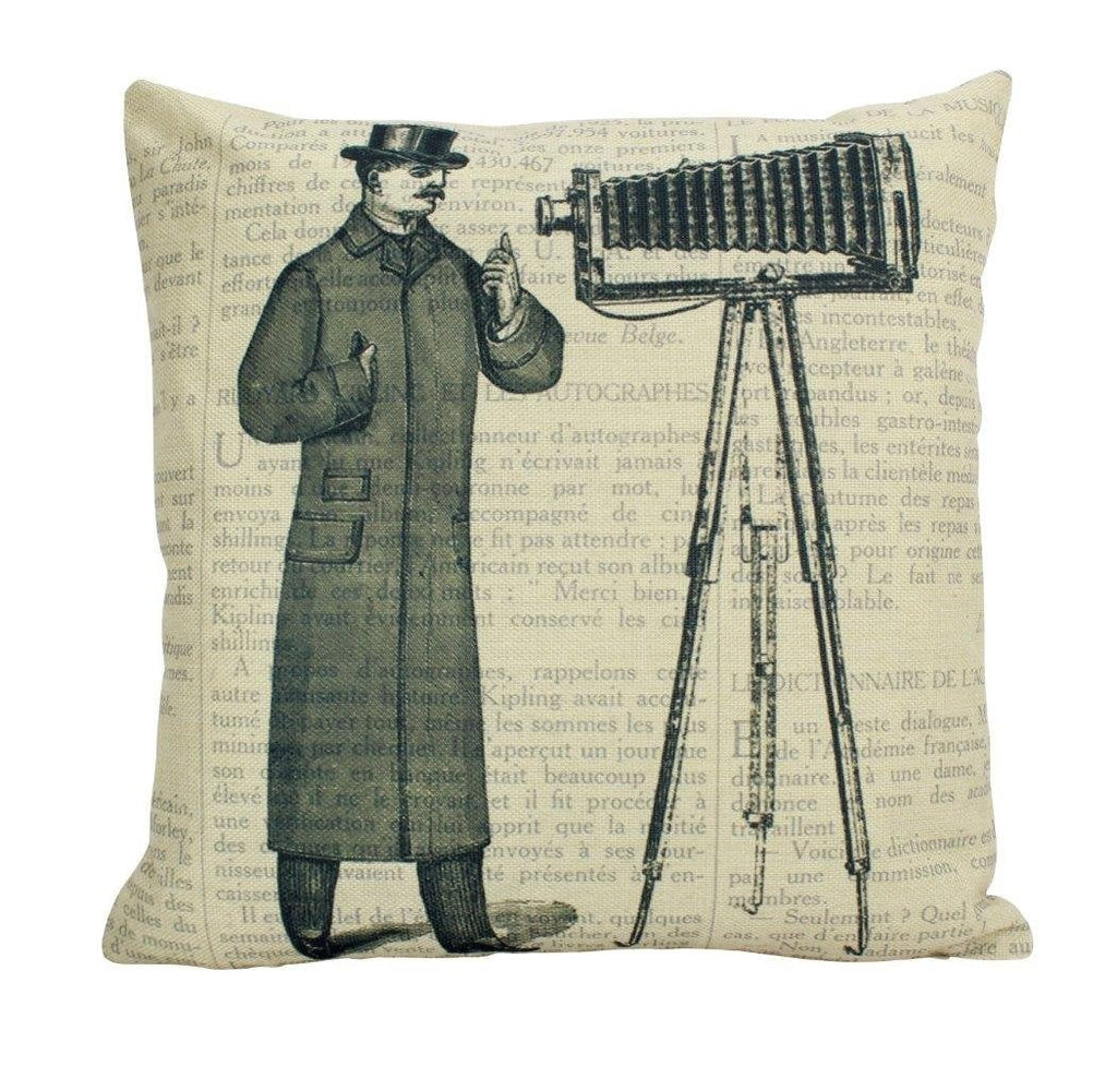 Vintage Photographer | Pillow Cover | Photography | Vintage Camera Lens | Home Decor | Pillow