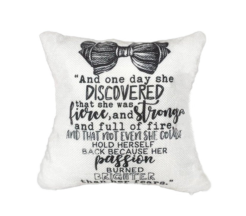 She discovered she was Fierce and Strong Pillow Cover | Woman empowerment | Famous Quotes | Motivational Quotes | Bedroom Decor | Room Decor