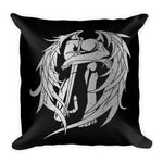 Zadkiel Black Throw Pillow Distressed