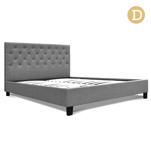 Double Fabric Bed Frame with Headboard