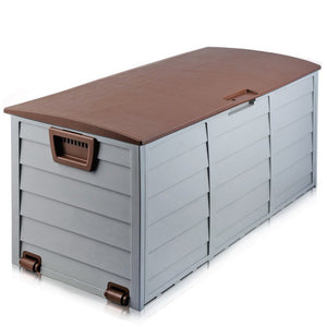 290L Plastic Outdoor Storage Box Container Weatherproof Brown Grey