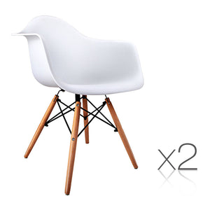 Set of 2 Replica Eames Cafe Chairs Beech White