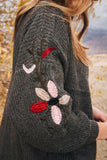 Isabel Embroidered Cardi in Gray