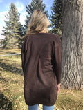 Boyfriend Cardigan Sweater in Dark Brown