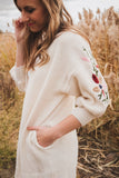 Isabel Embroidered Cardi in Cream