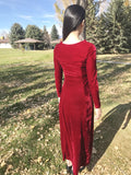 Crushed Velvet Maxi Dress in Wine Red