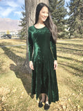 Crushed Velvet Maxi Dress in Dark Green
