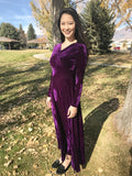 V-Neck Purple Velvet Maxi Dress