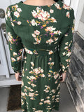 Green Floral Button Front Maxi