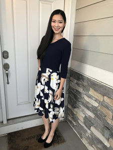 V Neck Navy Floral Dress
