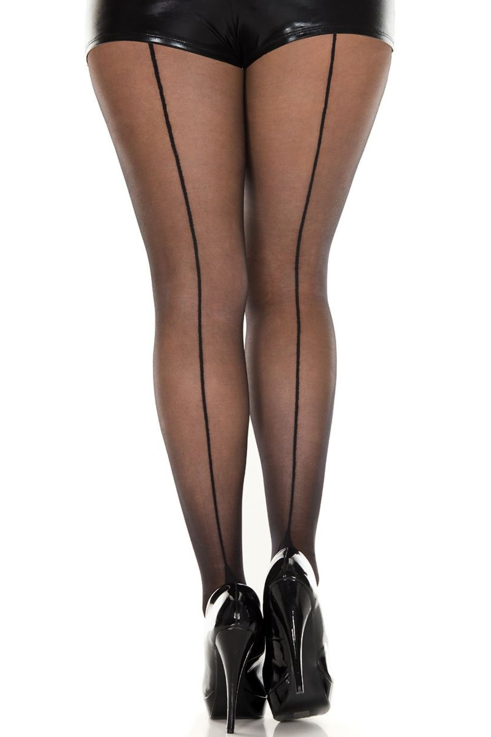 efc09bf7f04 Plus size basic sheer pantyhose with sexy back seam – QUEENSLEGS.COM