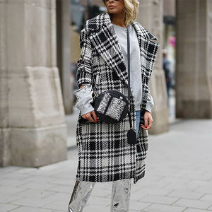 Chic Lapel Collar White Black Check Woolen Long Coat - lolabuy