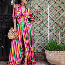 Button Down Collar  Stripes  Roll Up Sleeve  Half Sleeve Maxi Dresses - lolabuy