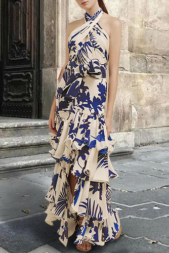 Sexy Halter Off Shoulder Flouncing Floral Printed Maxi Dress - lolabuy