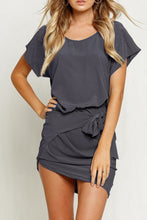 Round Neck Batwing Sleeve Asymmetric Hem Bodycon Dress - lolabuy