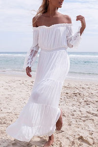 Lace Off Shoulder Patchwork Maxi Dress - lolabuy
