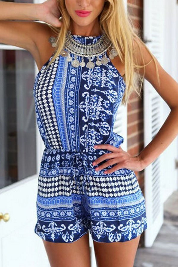Halter Backless Printed Playsuits - lolabuy